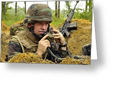 Soldier Using A Ta-1 Sound Powered Greeting Card