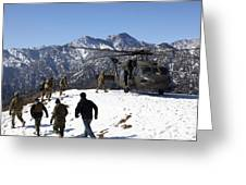 Soldiers Board A U.s. Army Uh-60 Black Greeting Card