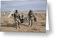 Soldiers Carry An Rq-11 Raven Unmanned Greeting Card