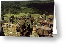 Soldiers Descend The Side Of Hill 742 Greeting Card