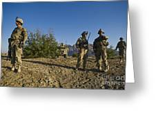 Soldiers Discuss A Strategic Plan Greeting Card
