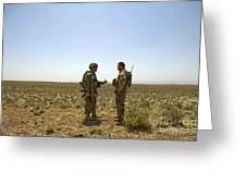Soldiers Discuss, Drop Zone Greeting Card