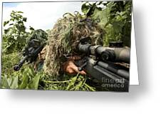 Soldiers Dressed In Ghillie Suits Greeting Card