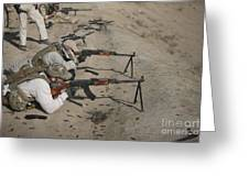 Soldiers Fire A Russian Rpk Kalashnikov Greeting Card