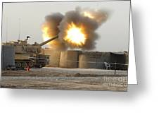 Soldiers Fire The Howitzers Greeting Card