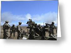 Soldiers Firing The M777 Howitzer Greeting Card