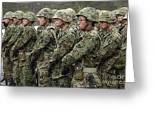 Soldiers From The Japan Ground Self Greeting Card by Stocktrek Images