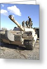 Soldiers Get Their Battletank Ready Greeting Card