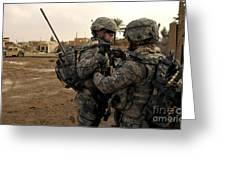 Soldiers Help One Another Greeting Card by Stocktrek Images