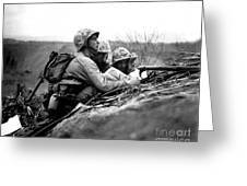 Soldiers Locate Enemy Position On A Map Greeting Card