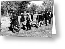 Soldiers March Black And White Greeting Card