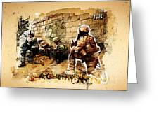 Soldiers On The Wall Greeting Card