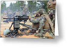 Soldiers Operate A Mk-19 Grenade Greeting Card by Stocktrek Images