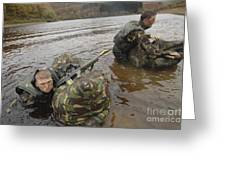 Soldiers Participate In A River Greeting Card
