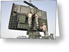 Soldiers Set Up A Tps-75 Radar Greeting Card