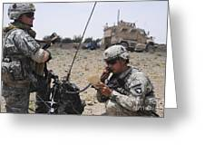 Soldiers Setting Up A Satellite Greeting Card