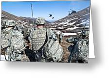 Soldiers Wait For Uh-60 Black Hawk Greeting Card