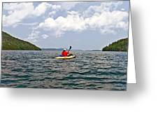 Solitary Man In Kayak Greeting Card
