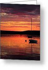 Solitary Sailboat At Sundown Greeting Card