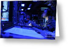 Sonar Technician Stands Watch Greeting Card by Stocktrek Images