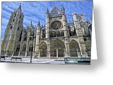 South Facade Of Leon White Gothic Greeting Card