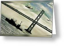 Space Shuttle And San Francisco Bay Bridge  Greeting Card