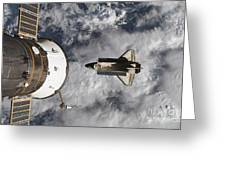 Space Shuttle Atlantis And The Docked Greeting Card
