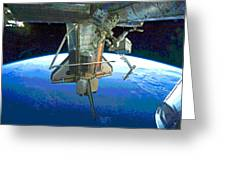 Space Shuttle Atlantis At Iss Greeting Card