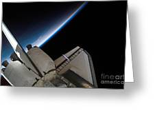 Space Shuttle Endeavour Backdropped Greeting Card