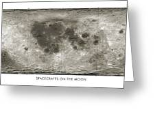 Spacecraft On The Moon, Lunar Map Greeting Card