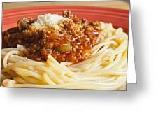 Spaghetti Bolognese Dish Greeting Card