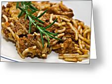 Spaghetti With Sauce Greeting Card by Susan Leggett