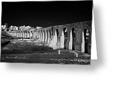 Span Of The Kamares Aqueduct Larnaca Republic Of Cyprus Europe The Aqueduct Was Built In 1750 Greeting Card
