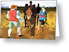 Spaniards Capturing Slaves Greeting Card