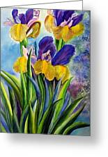 In Memory Of My Father - Three Blue And Yellow Irises Greeting Card by Therese AbouNader
