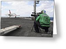 Specialist Records Video Of Flight Deck Greeting Card