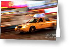 Speeding Cab Greeting Card