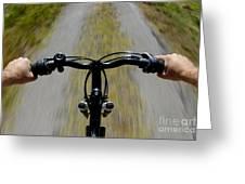 Speeding Mountain Bicycle Greeting Card