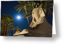 Sphinx And Date Palms With Full Moon Greeting Card