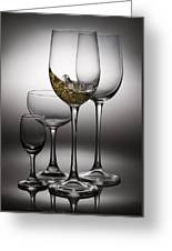 Splashing Wine In Wine Glasses Greeting Card
