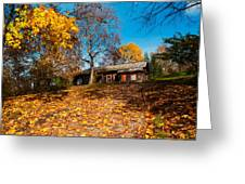 Splendor Of Autumn. Wooden House Greeting Card