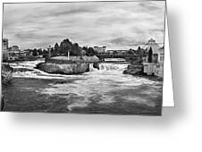 Spokane Falls From Lincoln Street Bridge In B And W Greeting Card