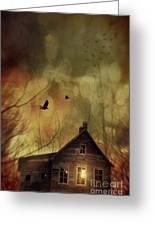 Spooky House At Sunset  Greeting Card