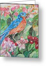 Spring Bluebird Collage Greeting Card
