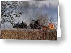 Spring Burning Of The Blueberry Fields Greeting Card by Susan Capuano