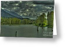 Spring Clouds At The Nicomen Slough Greeting Card