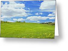 Spring Farm Landscape With Blue Sky In Maine Greeting Card