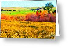 Springtime In The Golden Hills . 7d12402 Greeting Card
