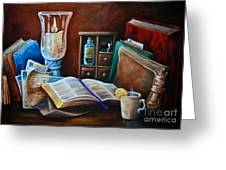 Srb Candlelit Library Greeting Card