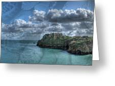 St Catherines Rock Tenby With A Shell Texture Greeting Card